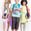 Stock Photo: School children with bags and books, isolated