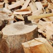 Wood prepared with axe for the winter — ストック写真