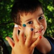 Several colors on children fingers, outdoor — Stock Photo #8848868