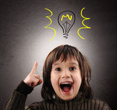 Exellent idea, kid with illustrated bulb above his head — Stockfoto
