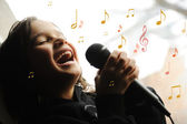 Musician kid singing with microphone — Stok fotoğraf