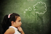 Education activities in classroom at school, smart girl thinking, copy spac — Stock Photo