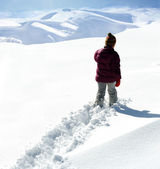 Walking in snow — Stock Photo