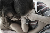 Little dirty brother and sister, poverty , bad condition — Stock Photo