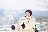 Muslim woman in snow — Stock Photo