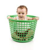 Baby boy in plastic box — Stock Photo