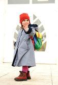 Cute girl outdoor, going to kindergarten — Stock Photo