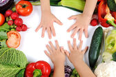 Children, vegetables — Stock Photo