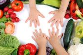 Children, vegetables — Stock Photo