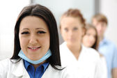 Inside the modern lab of university hospital, young confidental successful — Stock Photo