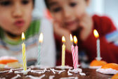 Two little boys blowing candles on cake, happy birthday party — Stock Photo