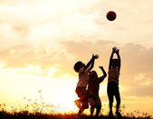 Silhouette, group of happy children playing on meadow, sunset, summertime — Stok fotoğraf