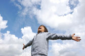 Little boy feeling a freedom on meadow in nature — Stock Photo