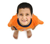 Happy child, positive fresh little smiling boy from above, different angle, — Stock Photo