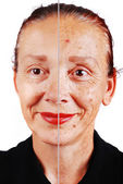 Senior woman with old skin face and retouched other half — Stok fotoğraf