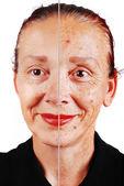 Starší žena se stará kůže obličeje a druhou polovinu retušované — Stock fotografie