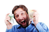 Currency, one hundred euro in hands of male — Stock Photo