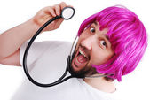 Very funny male doctor with pink hair — Stock Photo