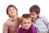 Liten grupp barn, lycka, isolerade — Stockfoto