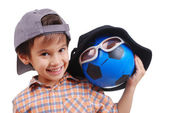 Little cute boy with hat on head and ball as a friend — Stok fotoğraf