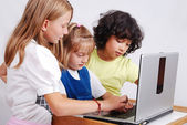 Children activities on laptop put on desk, isolated — Stock Photo
