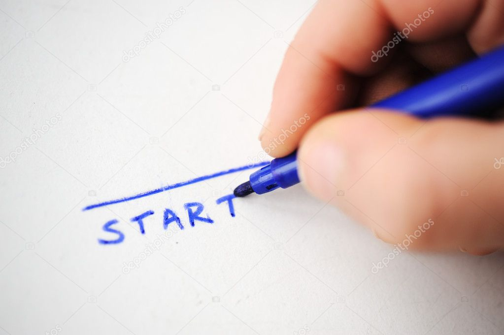 Start, child writing — Stock Photo #8845458