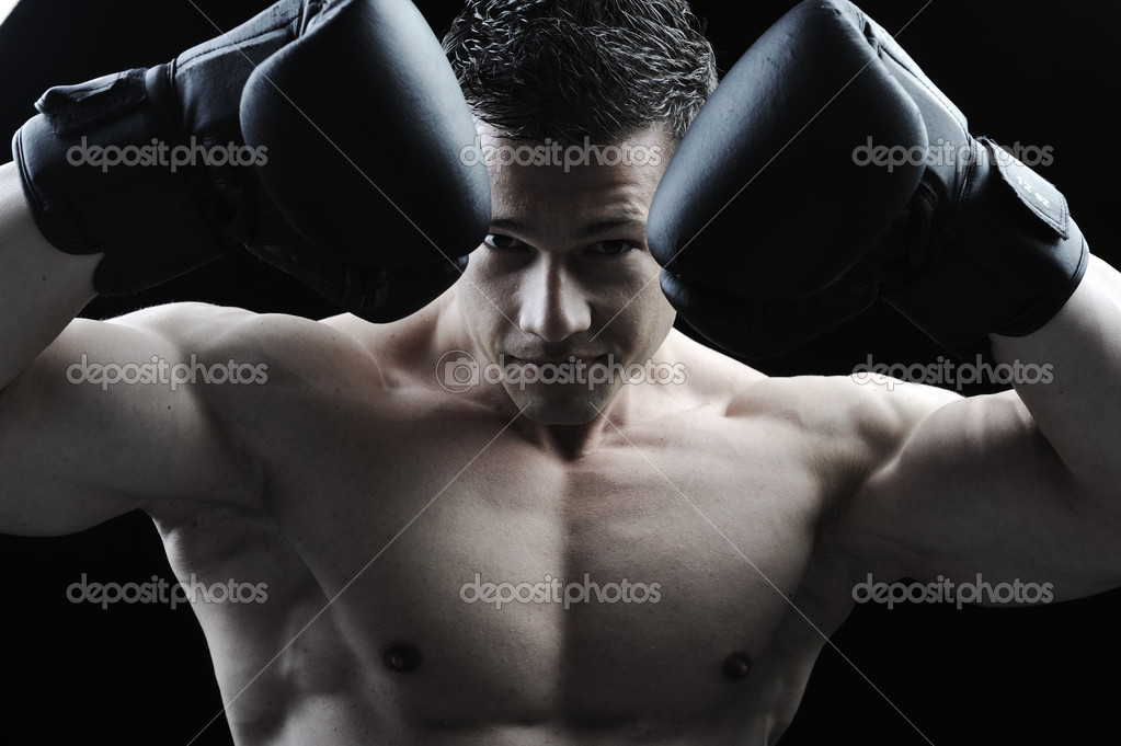 The Perfect male body - Awesome boxing fighter  Stock Photo #8846253