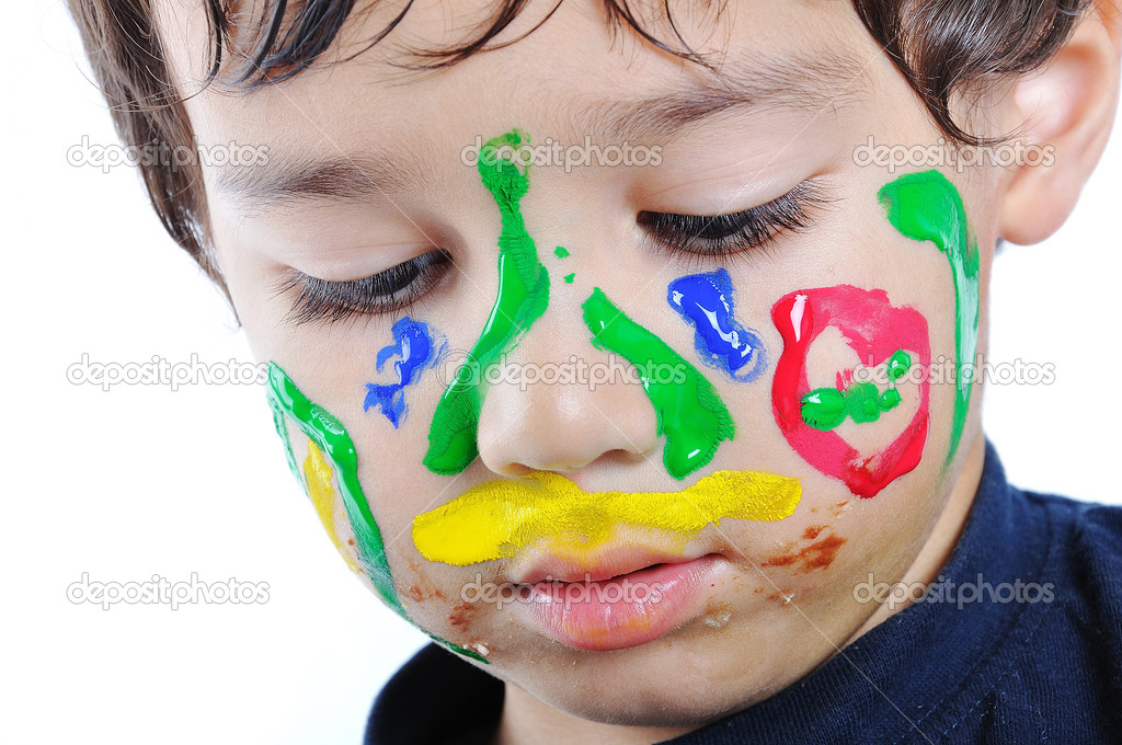 Kid with painted face — Stock Photo #8846897