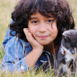 Very cute little girl with cat on meadow — Foto de Stock