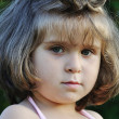 Very cute very little girl outdoor, closeup - Stock Photo