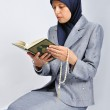 Young nice muslim female praying on traditional way — Stock Photo