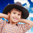 Beautiful little boy with hat on head — Stock Photo