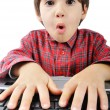 Shocked face, kid on computer — Stock Photo #9992574
