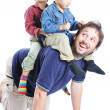 Happy family, father and sons — Stock Photo