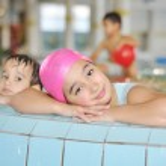 Children on pool — Stock Photo