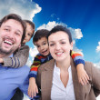Very beautiful happy family, four members - Stock Photo