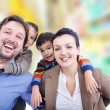 Very beautiful happy family, four members — Stock Photo #9993133