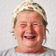 Old aged female person, very delightful and funny face — Stock Photo