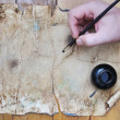 Very old grunge paper, great for background or your text — Stok fotoğraf