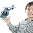 Kid with helicopter — Stock Photo