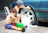 şirin çocuk araba, açık temizlik — Stok fotoğraf