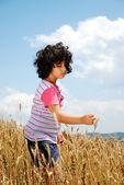 ładna dziewczynka na polu pszenicy — Zdjęcie stockowe