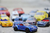 Many cars, toys outside, many colors — Foto Stock