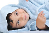 Face of innocence itself, happy childhood in robe, isolated — Stock Photo