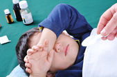 Flu, fever, pills, kid — Stock Photo
