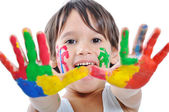 Messy hands, childhood — Stock Photo