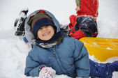 Great activity on snow, children and happiness — Stock Photo