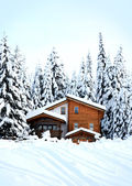 Beautiful winter forest and romantic wooden house — Stock Photo