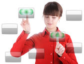 Girl with digital buttons — Stock Photo