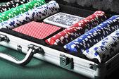 Casino tools in briefcase — Stock Photo